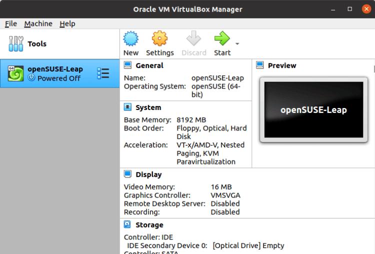 VirtualBox - powered off