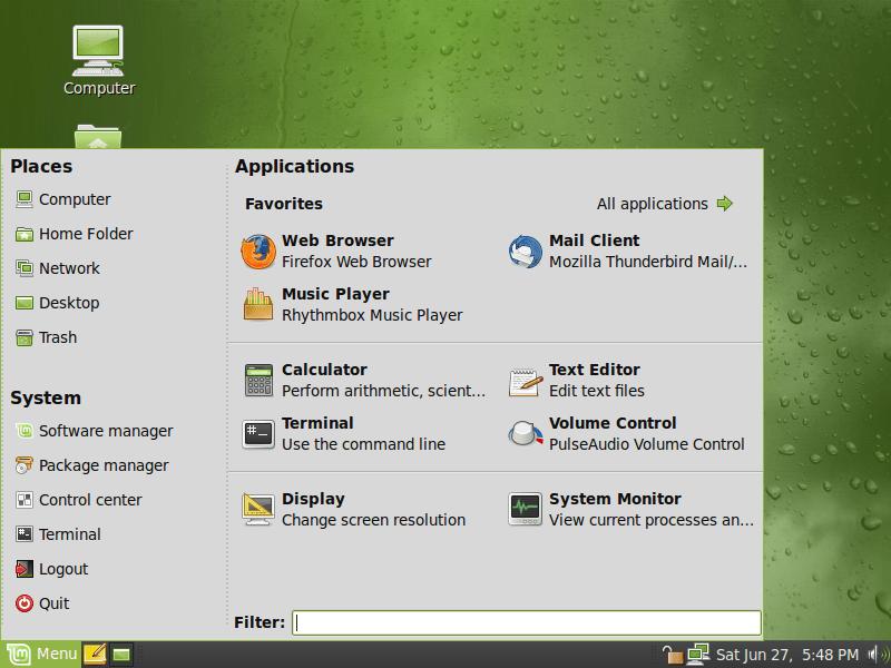 menu linuxmint_linuxdom