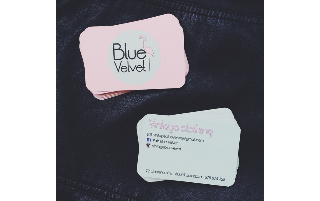 Diseño de imagen corporativa para Blue Velvet: Tarjetas de visita