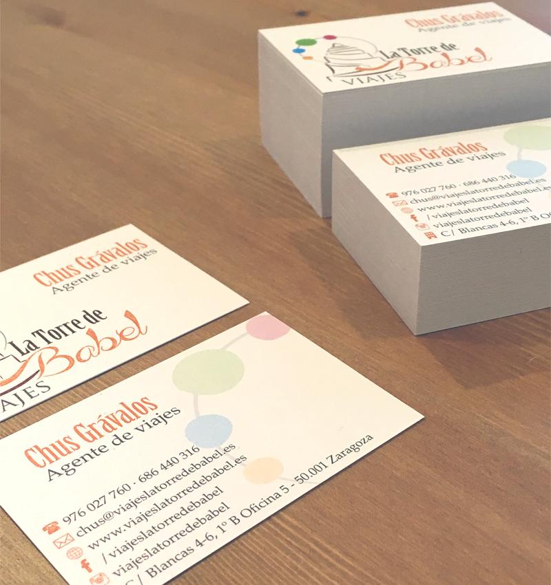 Diseño de tarjetas de visita para Viajes La Torre de Babel - Lion Comunicación en Zaragoza