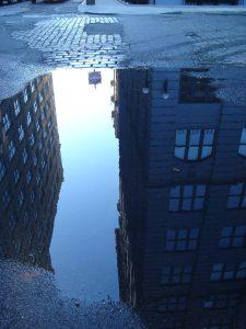 Reflecting a city skyline