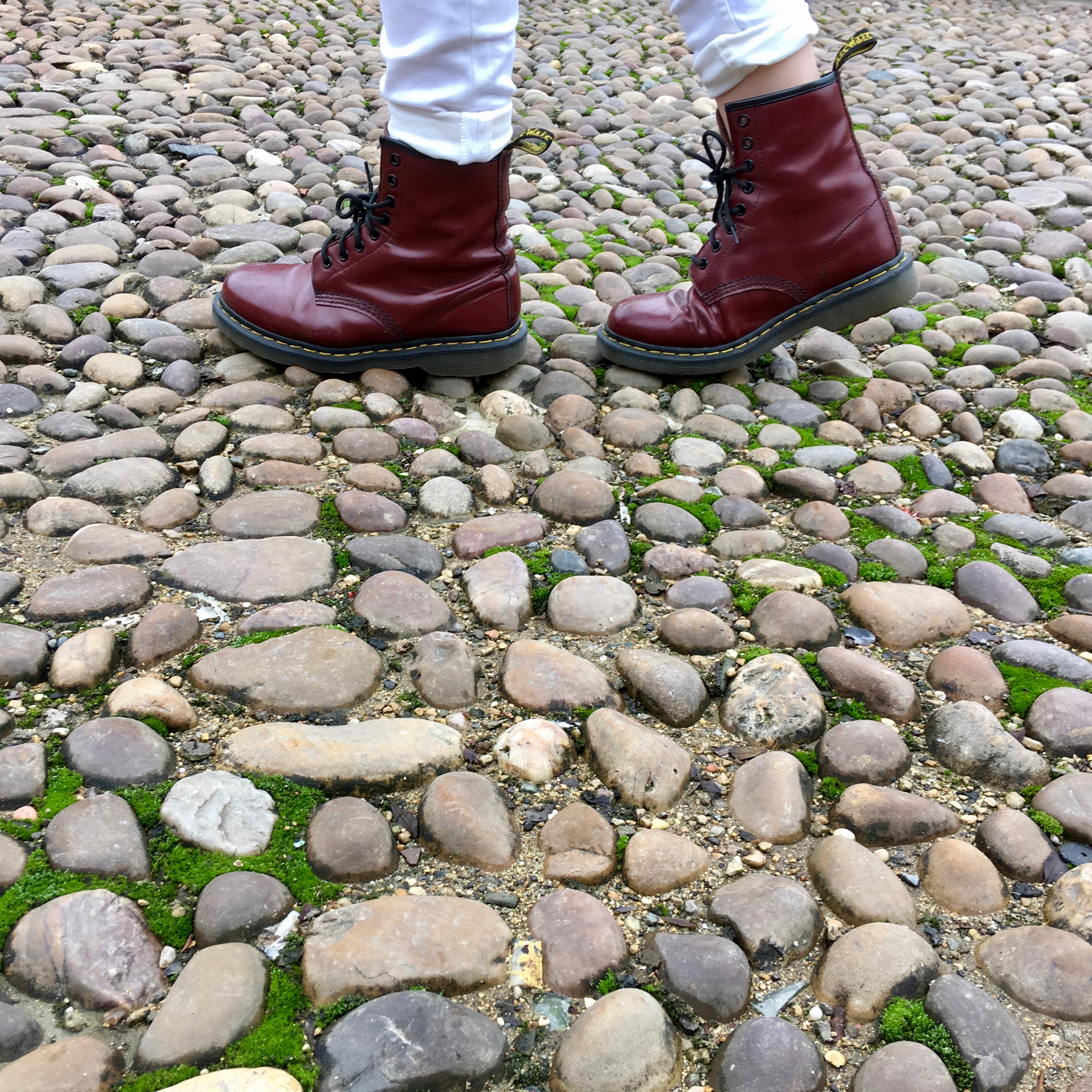 Feet walking on cobbles