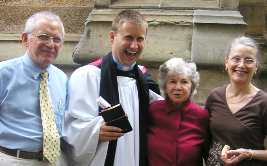 Lionel Windsor ordination with parents and Mrs Round