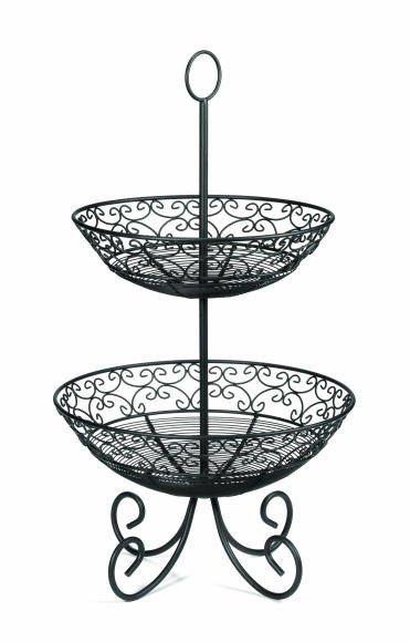 TableCraft BKT2 Mediterranean Two Tier Black Display