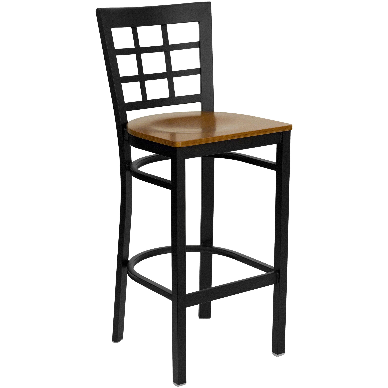 Flash Furniture Xu Dg6r7bwin Bar Chyw Gg Black Window Back Metal Bar Stool With Cherry Wood Seat Lionsdeal