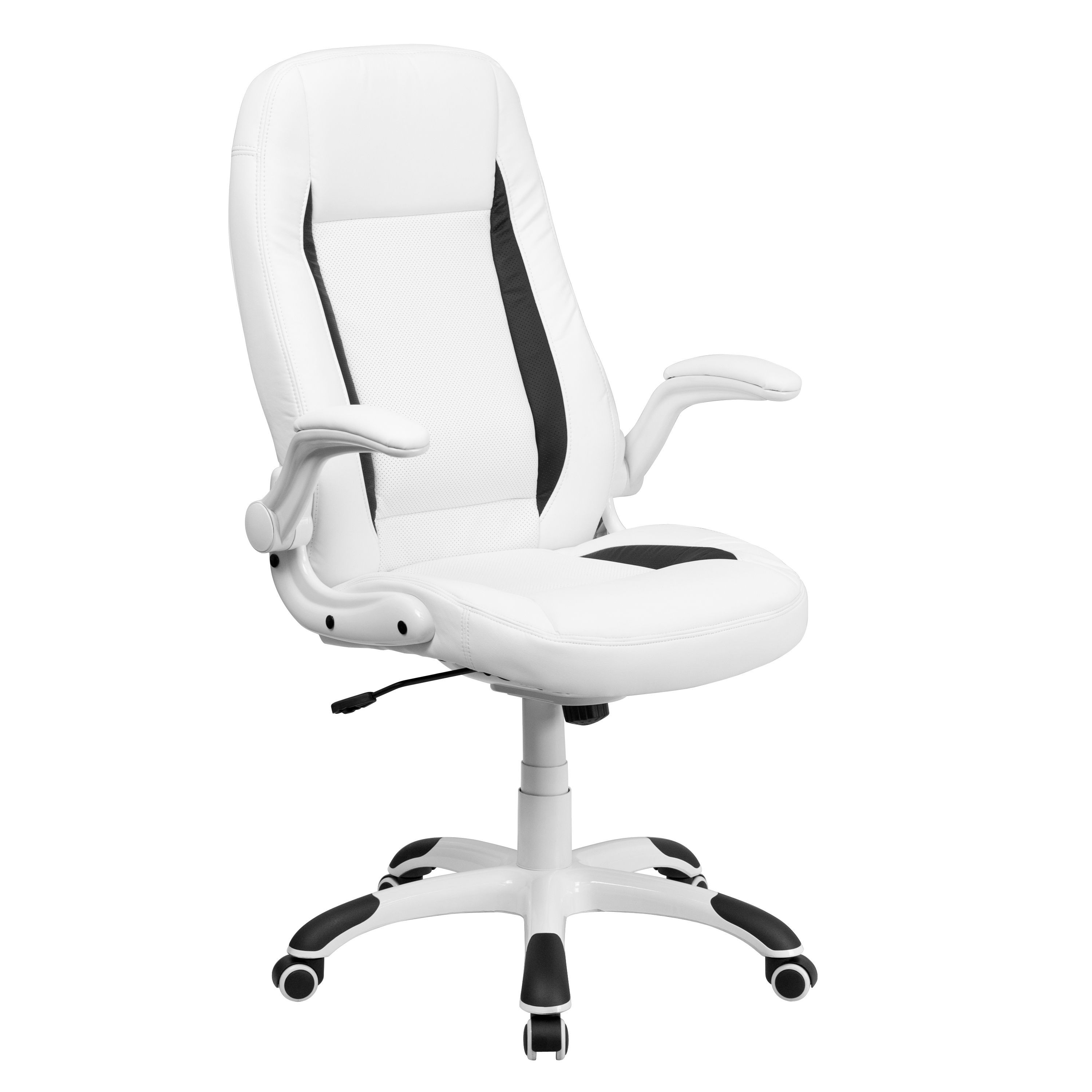 black leather office chair high back canvas folding chairs flash furniture ch cx0176h06 wh gg white executive with flip up arms