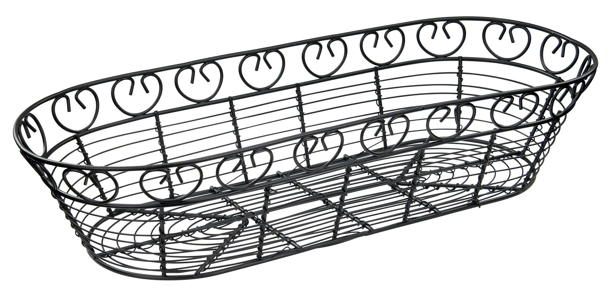 Winco Wbkg 15 Oblong Black Metal Wire Bread Basket 15