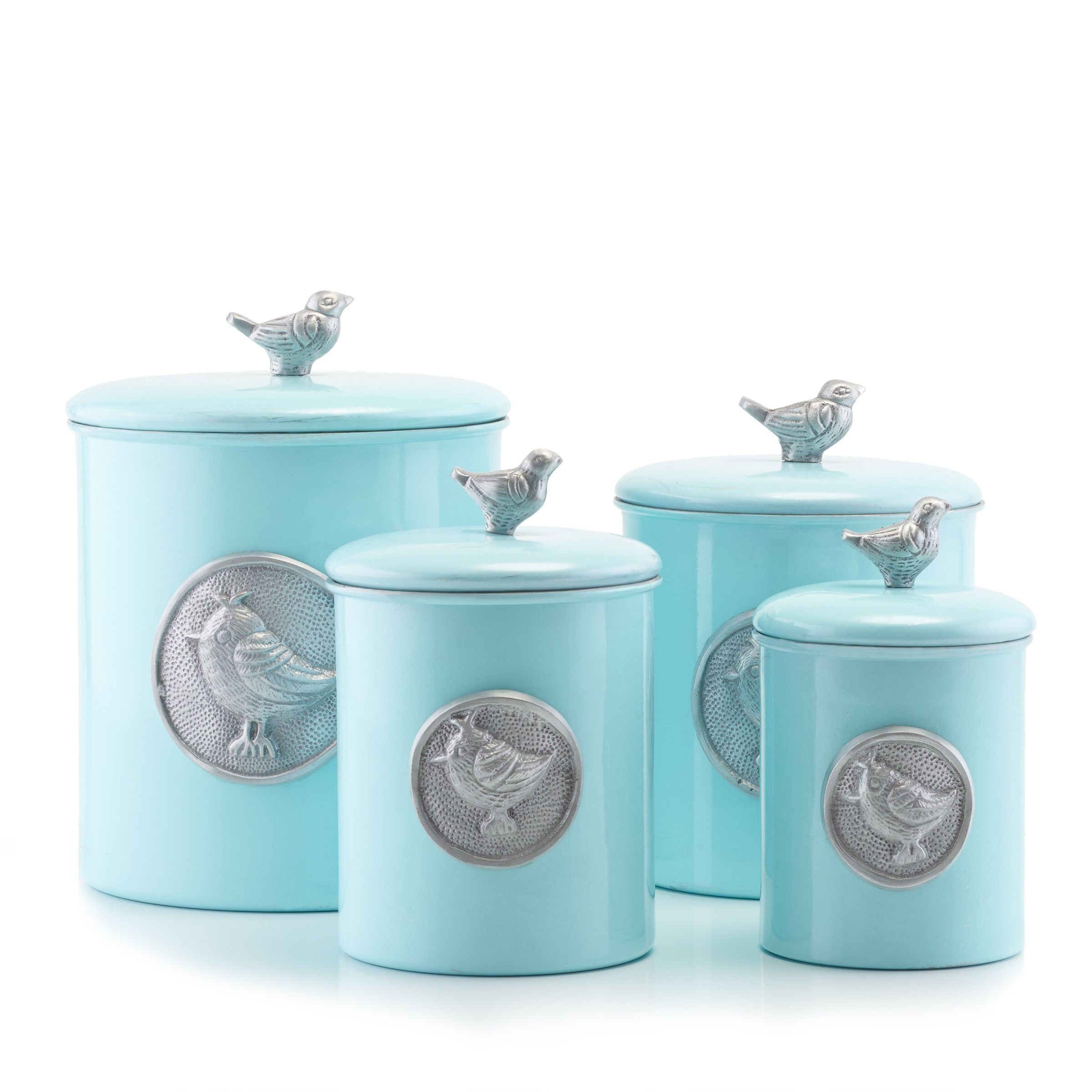 Old Dutch International 1543 Lauren Blue Bird Canisters with Fresh Seal Covers Set of 4  LionsDeal