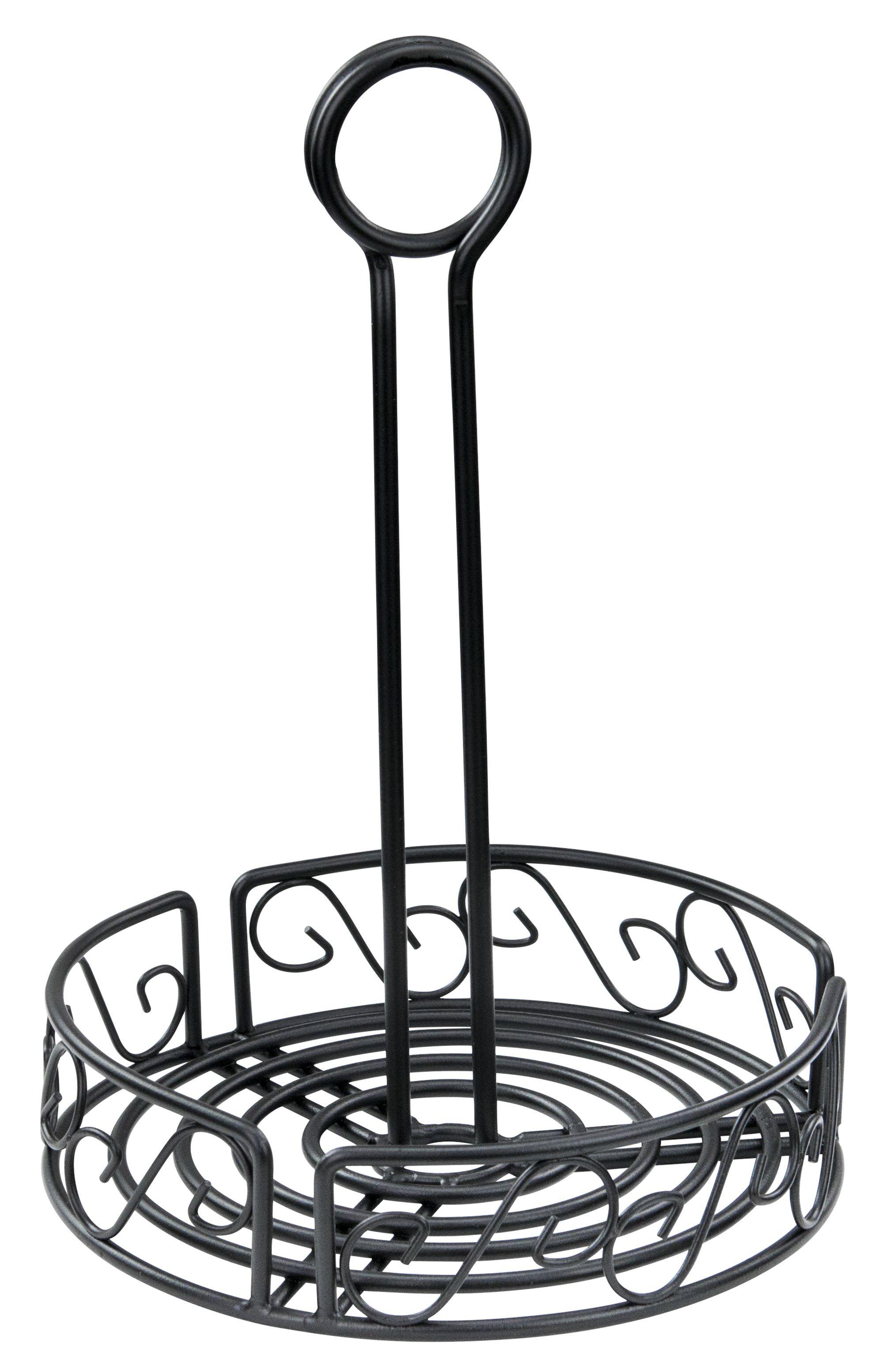 Winco Wbkh 6r Round Black Wire Condiment Caddy 6 1 4 X 9