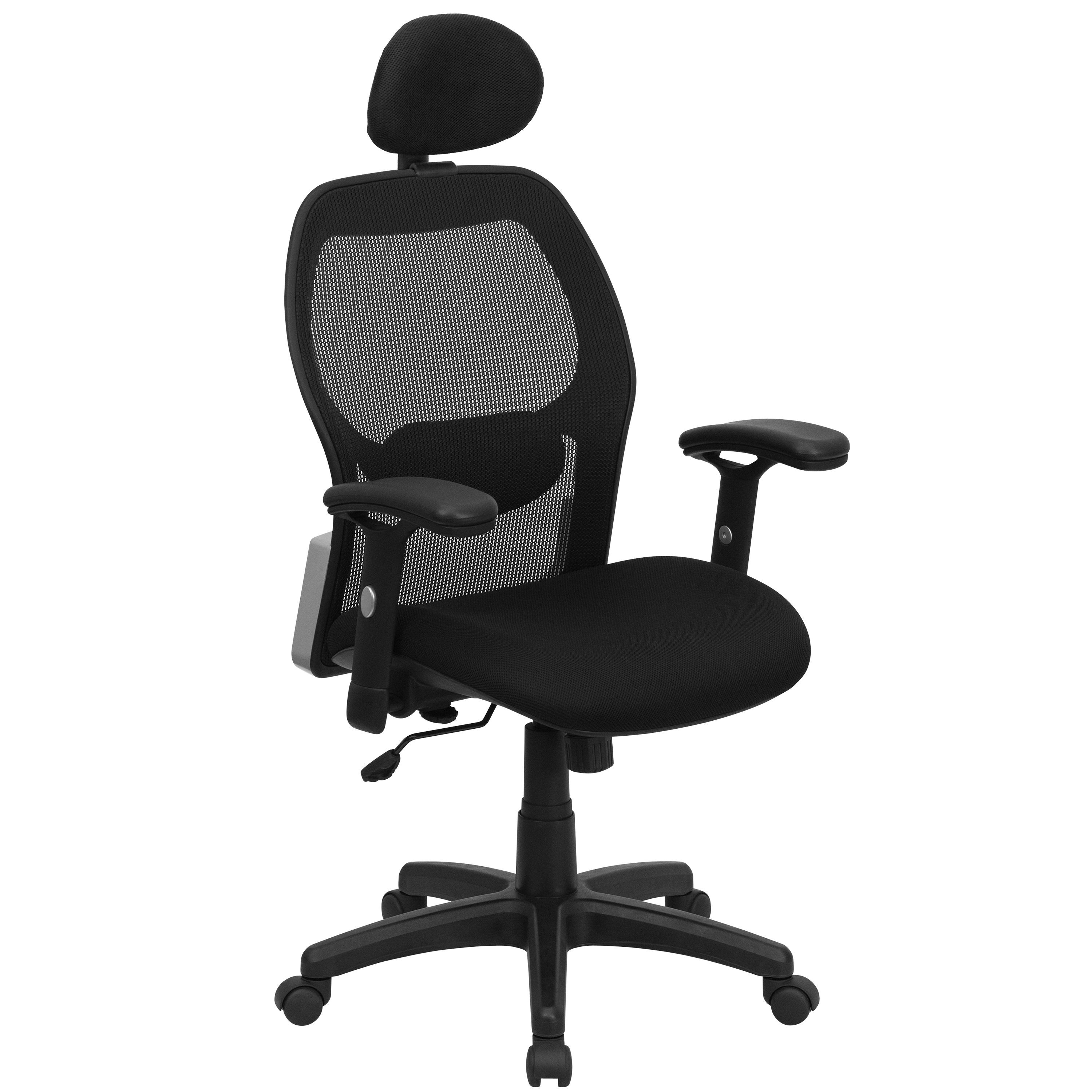 add headrest to office chair simply bows and covers newcastle flash furniture lf w42b hr gg super mesh with