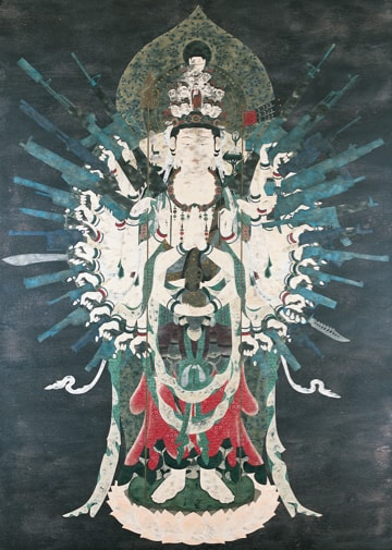 Painting of Bodhisattva flanked by weapons