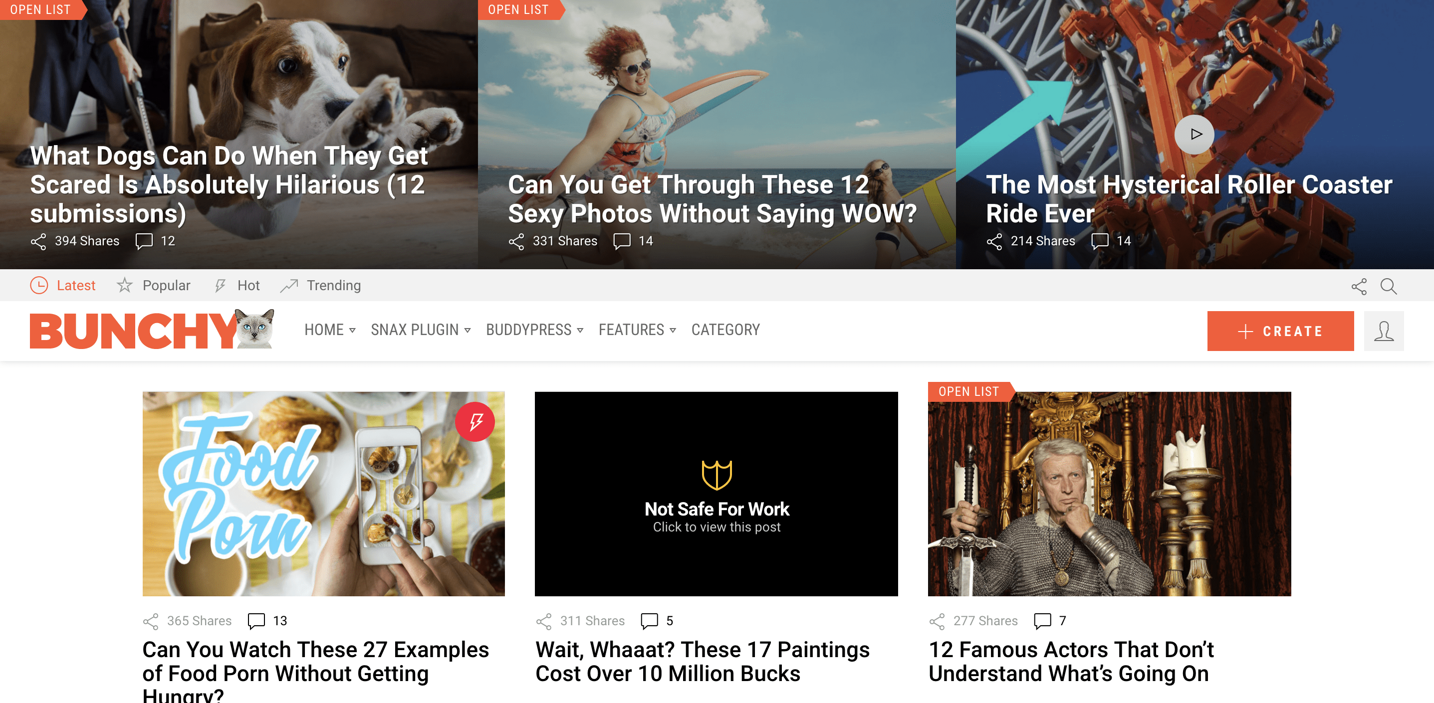 Bunchy - Viral WordPress Theme with Open Lists