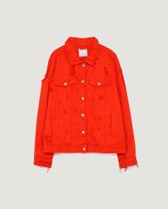 Rote Jeansjacke zara