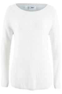 Weißer Pullover mit U-Boot Ausschnitt