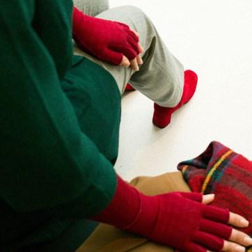 lipoedem mode outfit hosenanzug kirschrot armbestrumpfung medi 550 business