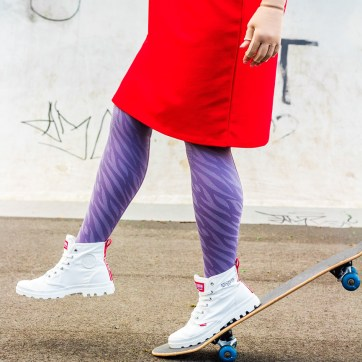 lipedema fashion purple animal caroline sprott streetstyle plus size lymphedema compression tights compression outfit