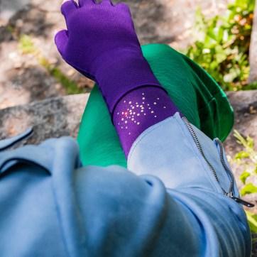 lipödem mode kompression violett mediven medi caroline sprott plus size outfit jumpsuit grün