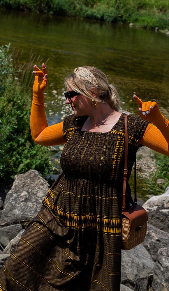 medi mangogelb mango gelb plussize blogger flachstrick kompression lipödem lymhpödem look outfit caroline sprott armkompression armbestrumpfung