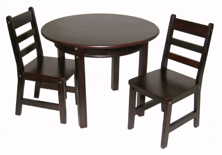 table and 2 chairs cheap kids lounge child s round with shelf espresso finish lipper