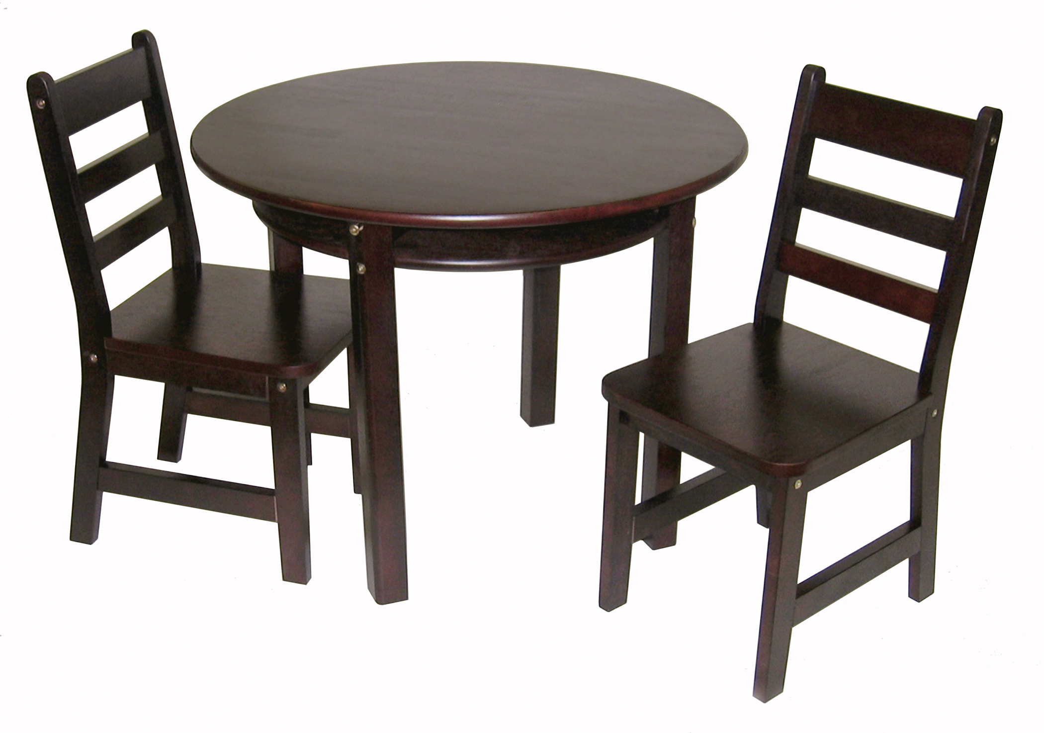 round table and chairs set eames dining chair canada sets for children kids collection lipper international child s with shelf 2 espresso finish