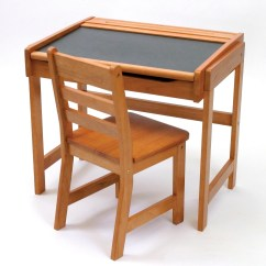 Childs Desk And Chair Heavy Duty Casters Child S Chalkboard 2 Piece Set Pecan Finish Lipper