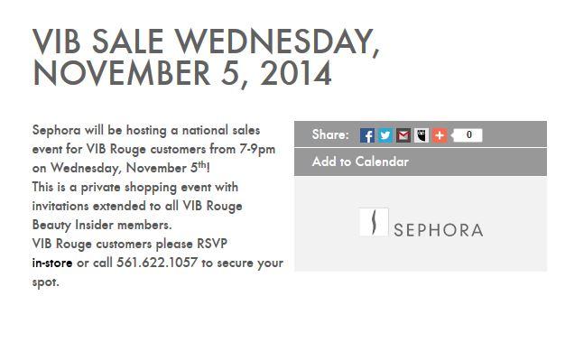 Sephora VIB Sale Fall 2014 Rouge Event