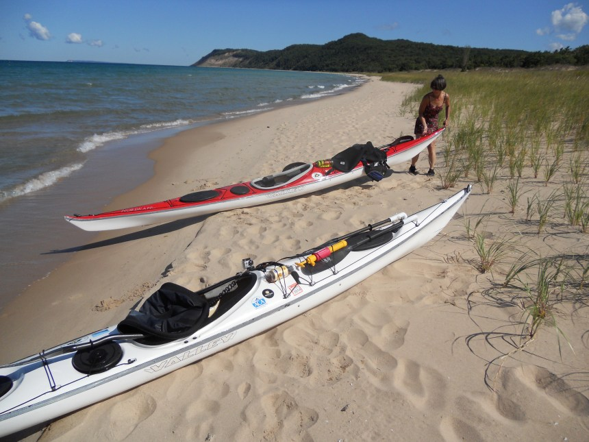 Lunch stop during our mainland paddle at Sleeping Bear Dunes