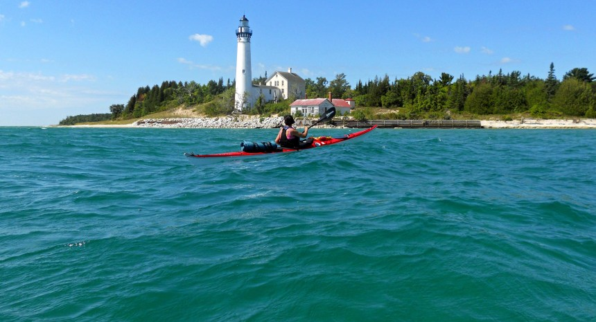 The South Manitou Island Lighthouse makes is a beacon for kayakers making the crossing.