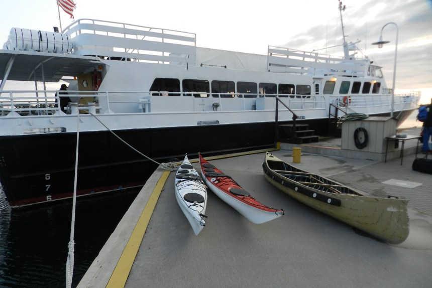 Our kayaks await loading onto the Queen IV.