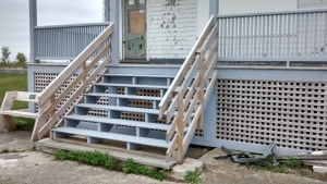 Progress continues on restoration of the porch of the Plum Island lifesaving station.
