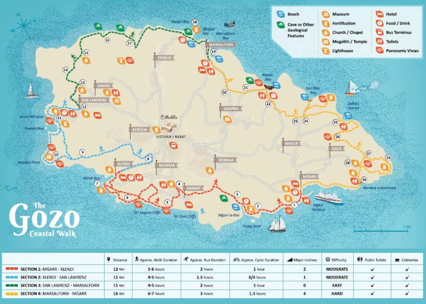 This map, featured in the Gozo Coastal Walk brochure, proved to be very handy for our day hike.