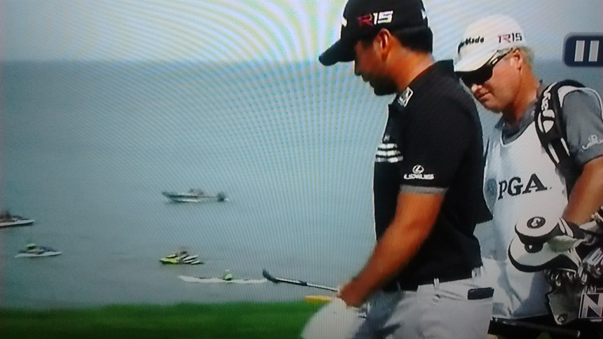 Eventual tournament winner Jason Day pretends not to notice me in the background.
