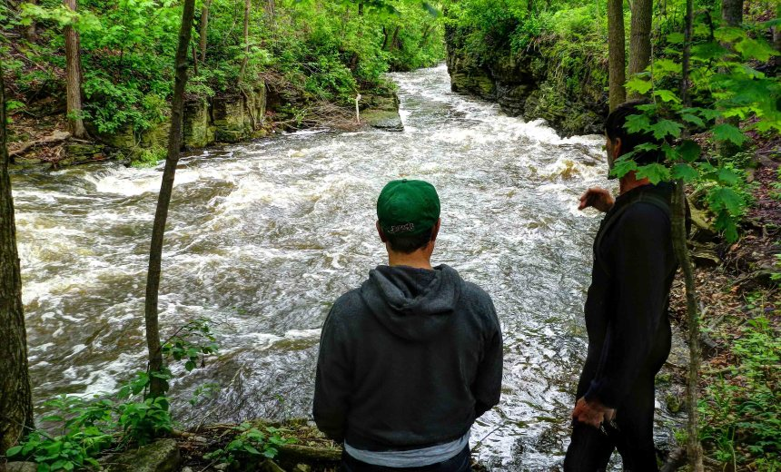 Tony and Rob scout the dells section of the Menomonee in Menomonee Falls, Wis. May 2012.