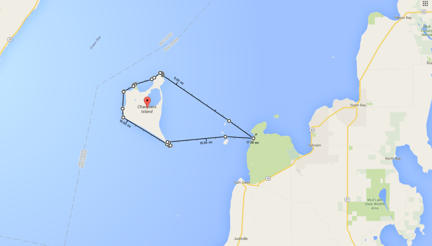 Our route started at Tennison Bay and went around Chambers Island.