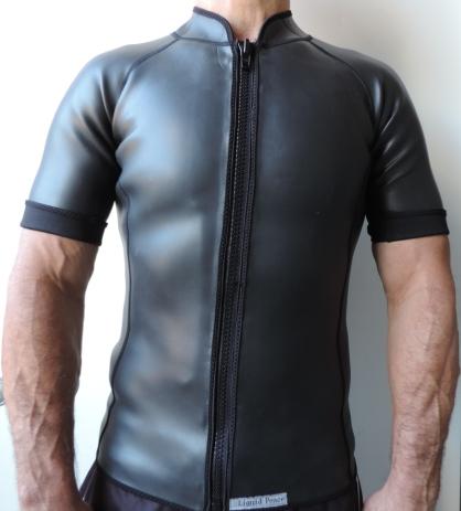 24939ec2a2 Men's 2mm Smooth Skin Wetsuit Jacket, Front Zipper, Short Sleeve ...