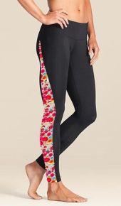 Women's Black Leggings with Flower Power Side Panels