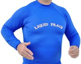 Men's Electric Blue, Long Sleeve, Rash Guard with Liquid Peace Letters.