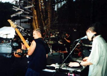 On stage in Central Park, New York City, while opening for Sting and Cheb Mami (Sept. 2000).