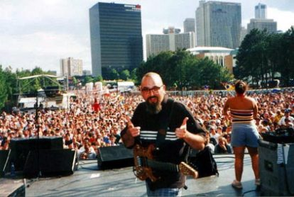 A chrome-domed Tommy Sanchez at the Music Midtown Fest, Atlanta.