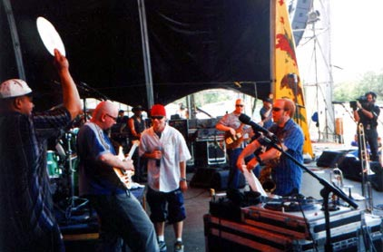 Tommy tears it up at the New Orleans Jazz & Heritage Festival, May 2000.