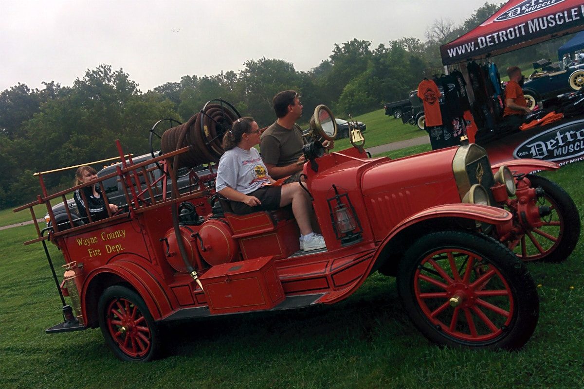 John Grace drives the Ford Model T fire truck at Cruisin' Hines