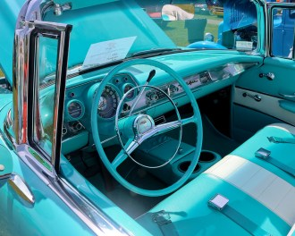 1957 Chevy Bel Air turquoise blue dashboard with matching steering wheel