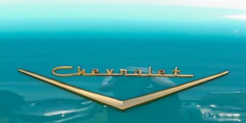 1957 Chevy Bel Air gold trunk nameplate