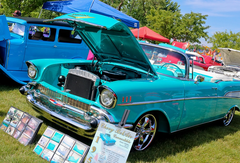 1957 turquoise blue Chevrolet Bel Air convertible