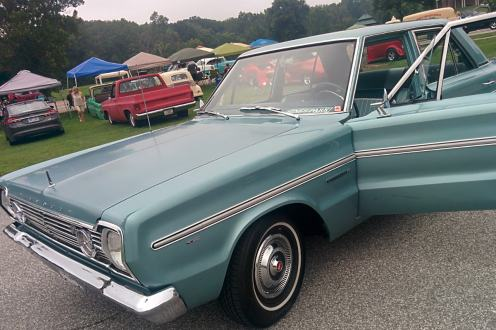 blue 1966 Plymouth Belvedere