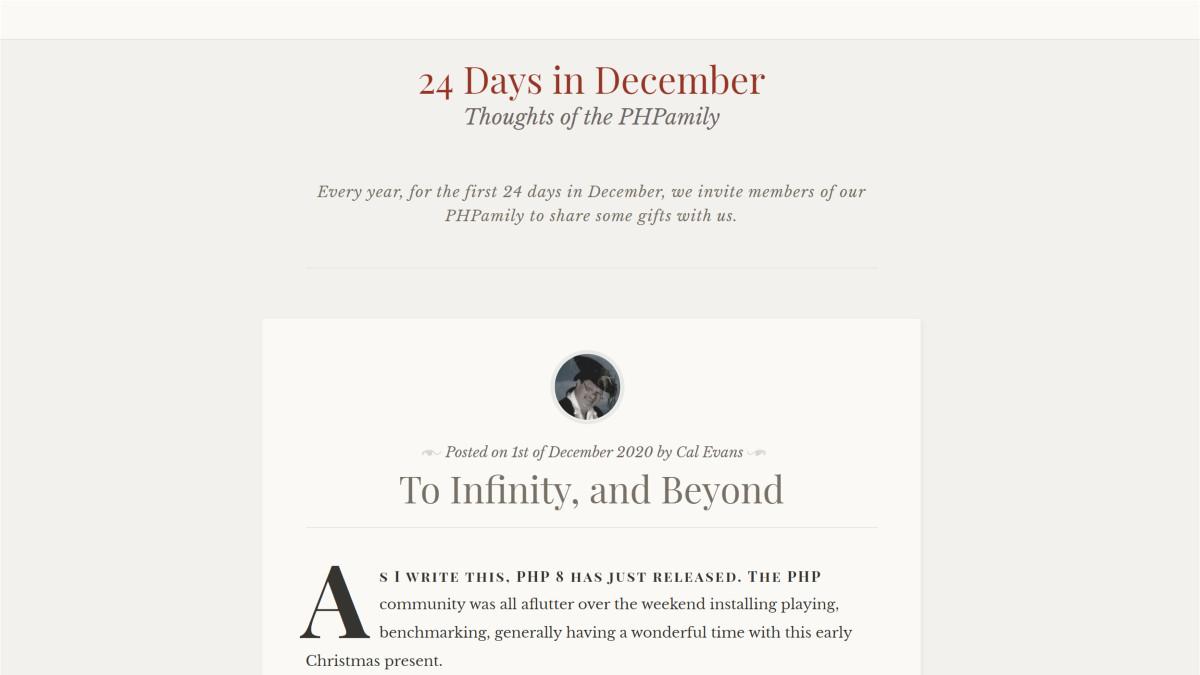 24 days in December PHP calendar day 1 post screenshot.