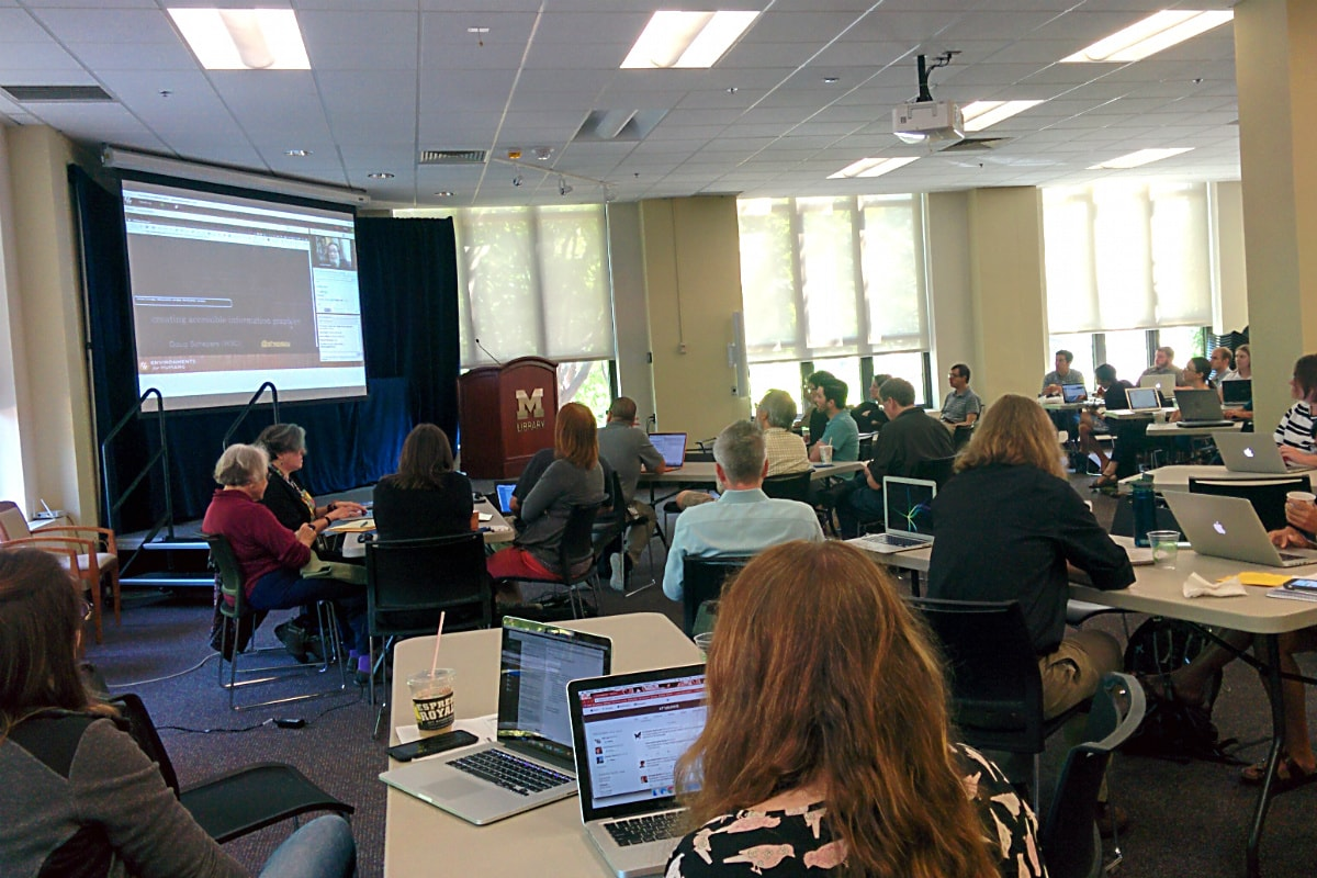 Attendees watching the online Accessibility Summit 2016