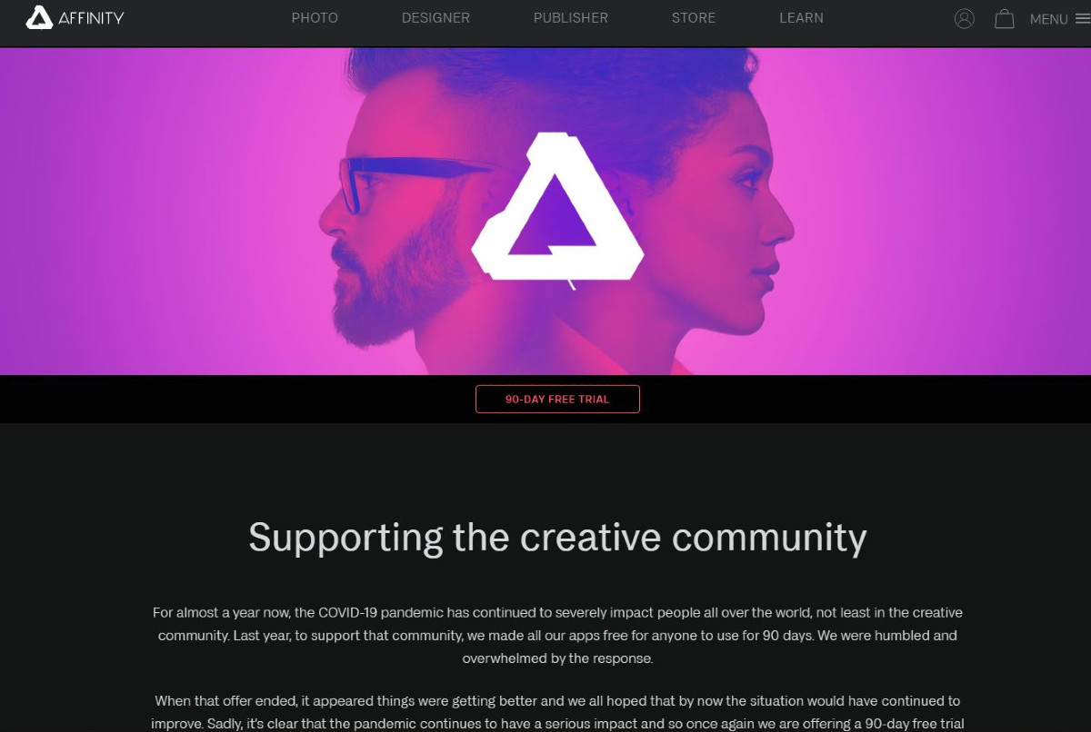 Affinity supports the creative community.