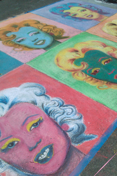 Sidewalk chalk painting of Marilyn Monroe