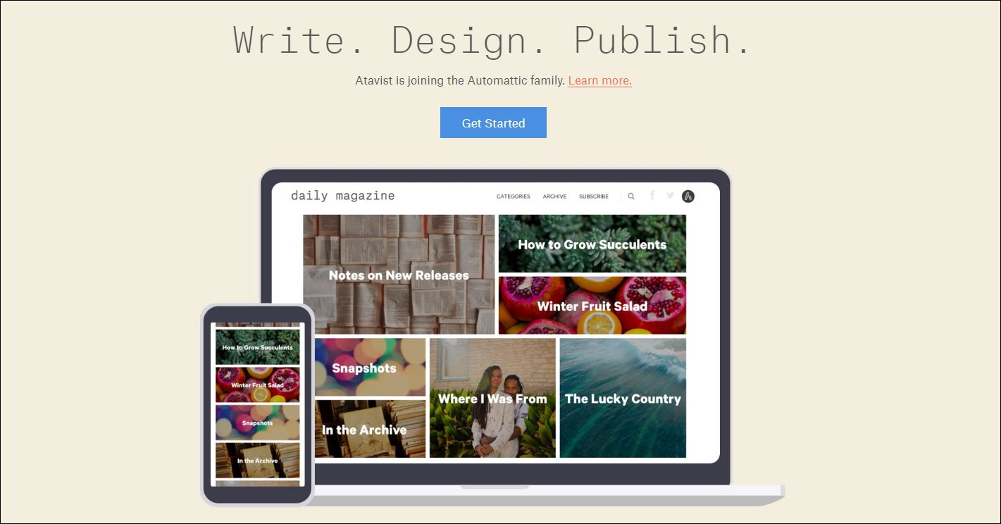 Atavist home page: write, design, publish